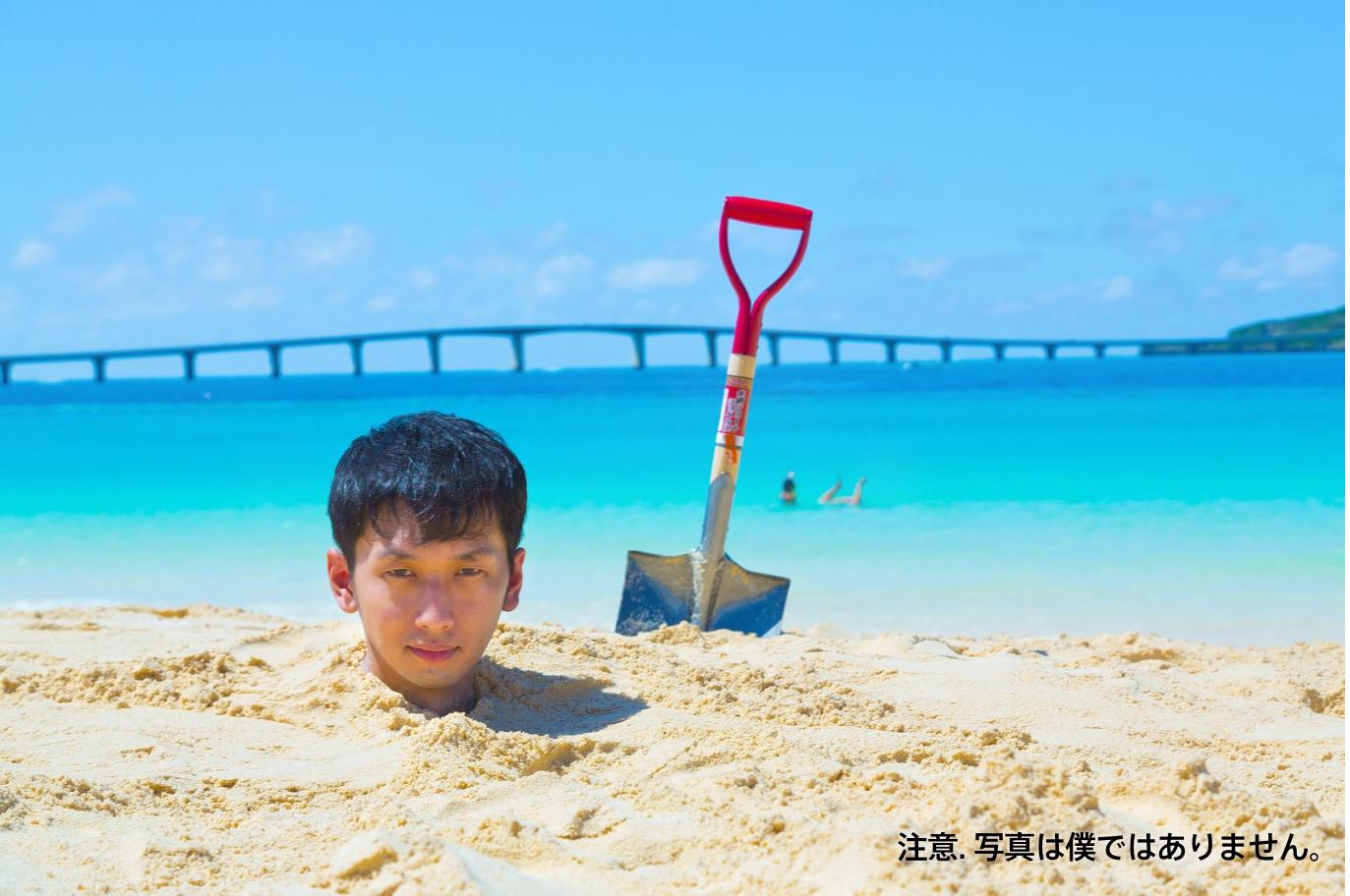 砂浜に埋まりながら