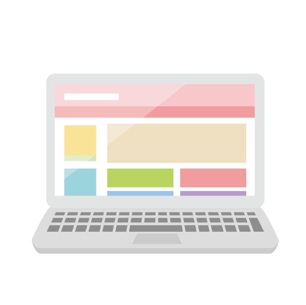 WEBデザインしているパソコン画面のイラストです。